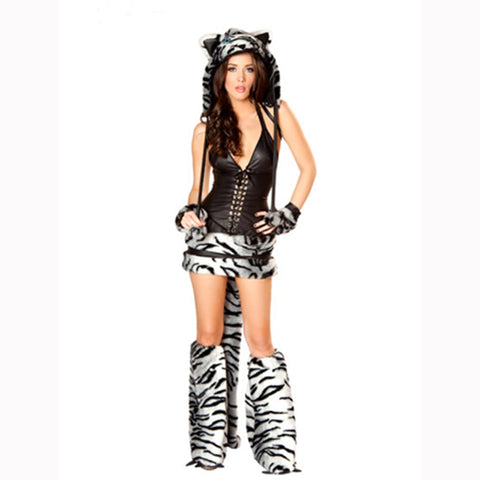 Free Shipping sexy animal costume tiger Halloween cosplay show animal costume for adult women fur costume women carnival wear