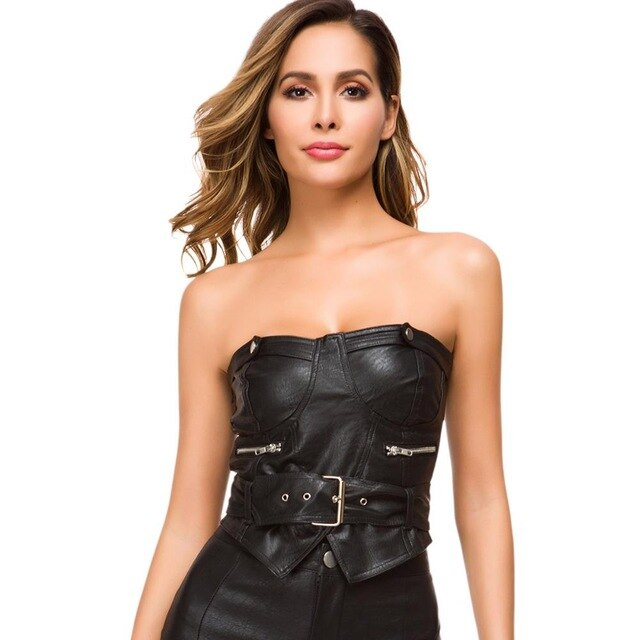 Meileiya Top summer women's sexy PU leather bra straps ladies corset nightclub party tailoring shirt vest Pengkla chain selling
