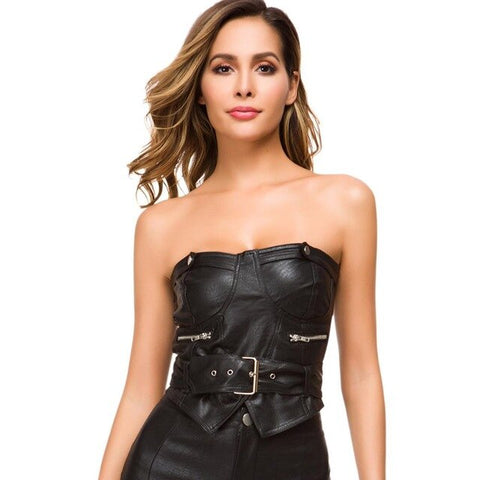 Women's sexy PU leather bra straps ladies corset nightclub party tailoring shirt vest chain