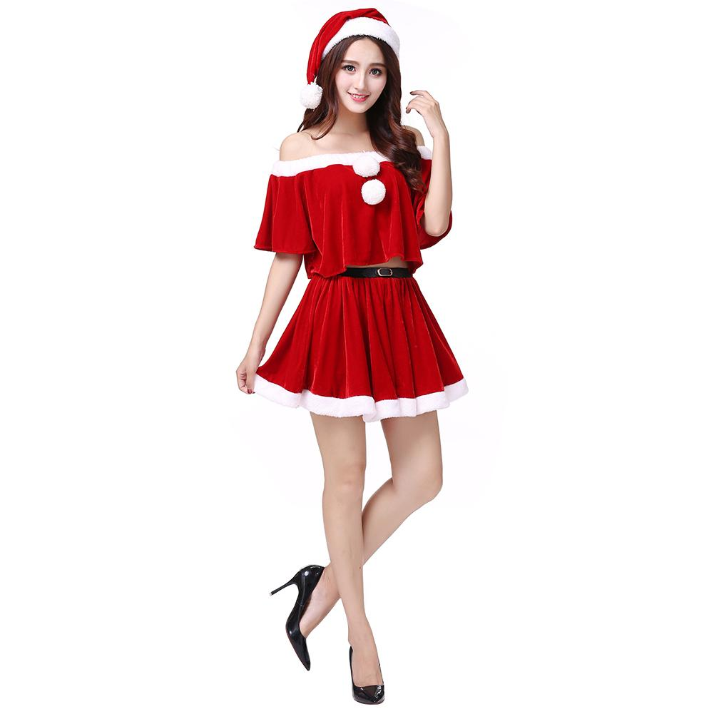 New Style Ladies Santa Costume Women Christmas Party Fancy Two Parts Dress Cosplay Suit sexy winter dress