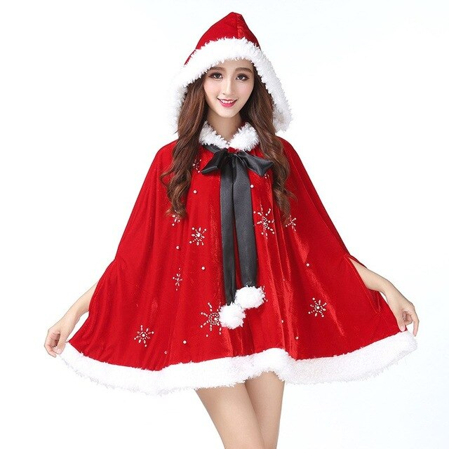 Santa Claus Costume Fancy Clothes Spliced Xmas Cosplay Props Christmas Cloak Coat Velvet Hooded Res