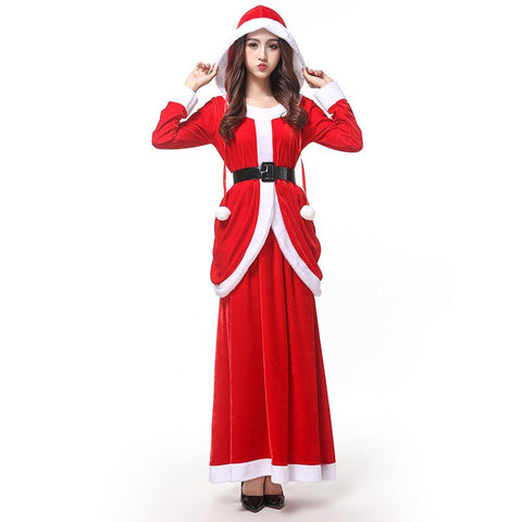 Christmas Costume Adult Women's Dress Sexy Long Dresses Party Party Costume Santa Claus Dress Long Sleeve Dress Women