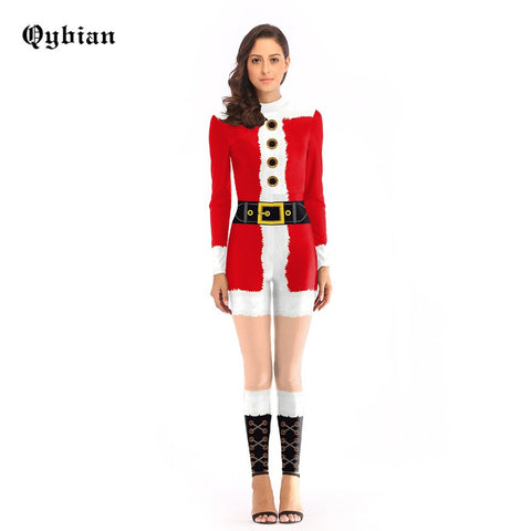 Qybian Free shipping red Santa Claus Costume Cosplay Cuddle Team Christmas Jumpsuit Costumes For Women Plus Size Bodysuit