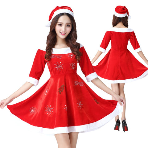 Women Plus Size Christmas Dress + Hat Costume Adult Set Christmas New Year Red Party Dress