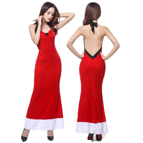 Christmas Dress Show Adult Female Sexy Leaning Slim Red Dress Christmas Dress Costume