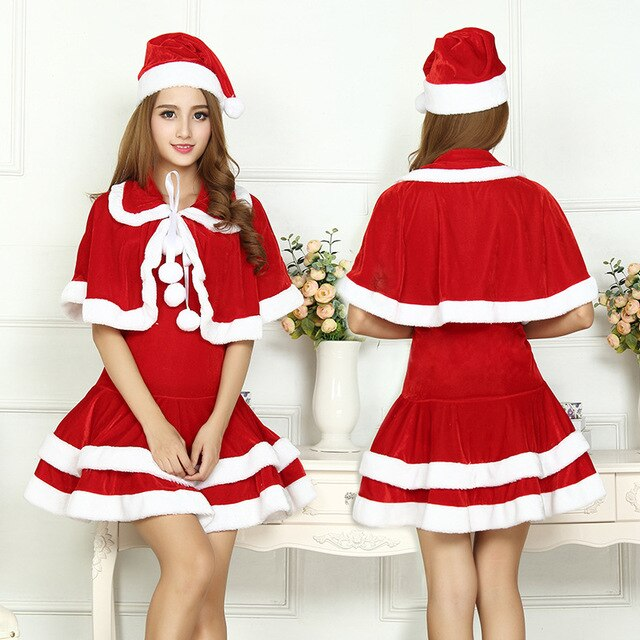Christmas Cute Women Santa Claus  Dress Red Female Autumn Winter Party Costumes Sexy One Size Santa Claus Wraps Dress Xnxee