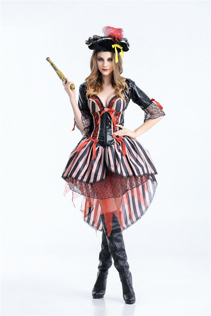 Ensen Pirates of the Caribbean cosplay costume Halloween Europe stripe Dress role playing party fantasia adulto costume