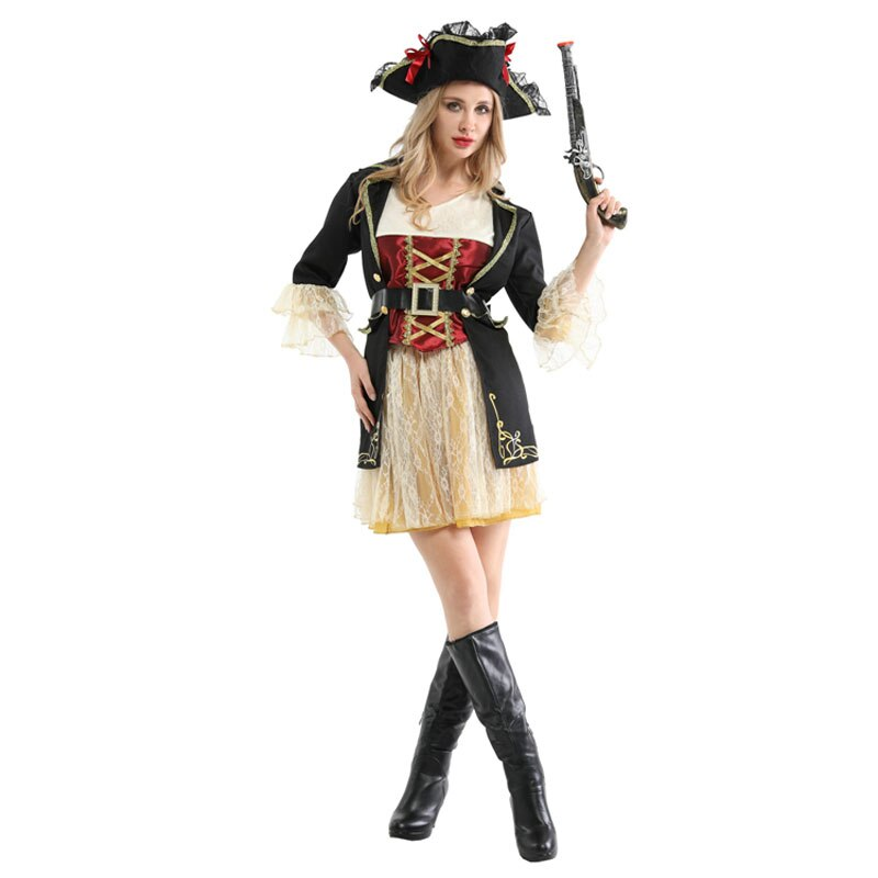 Noble Ladies Women Pirates Buccaneer Costume Cosplay Halloween Carnival Party Fancy Dress