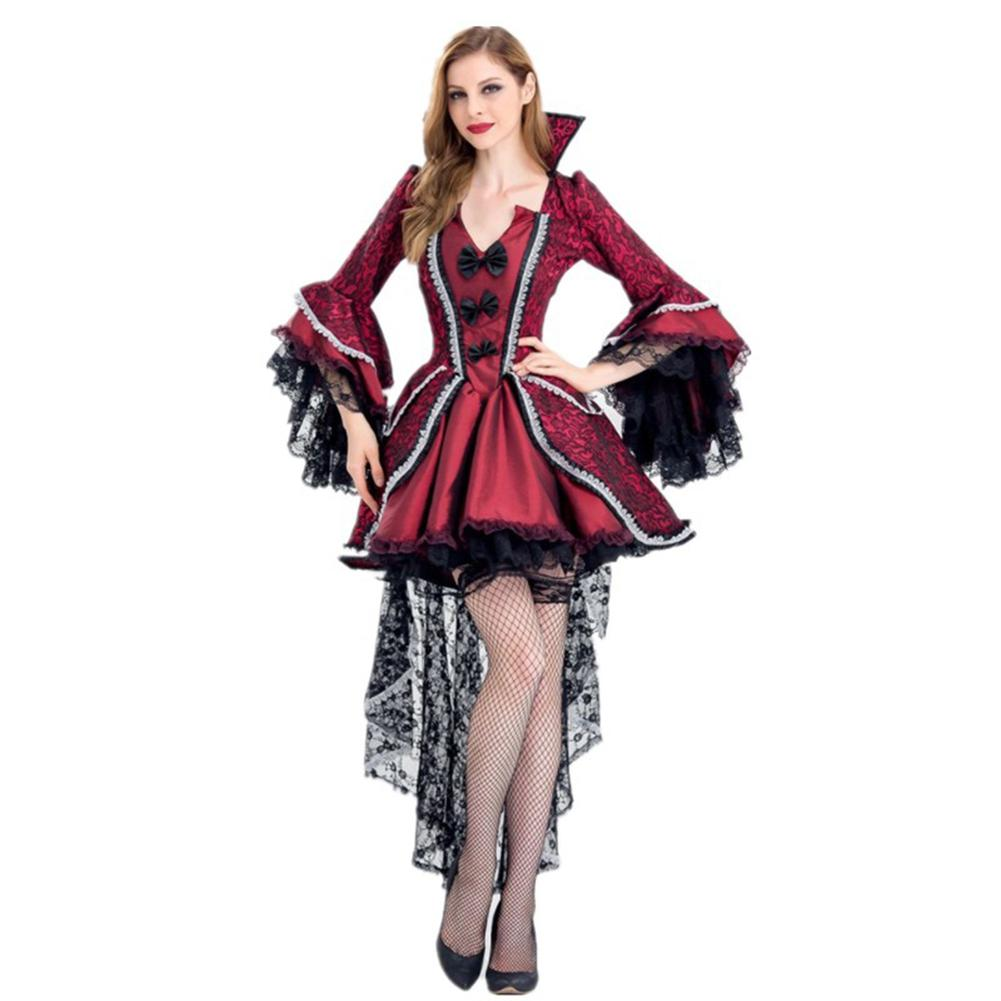 Red & Black Victorian Period Luxury Halloween Costumes for Women Vampire Queen Cosplay Costume Adult Witch Gothic Fancy Dress