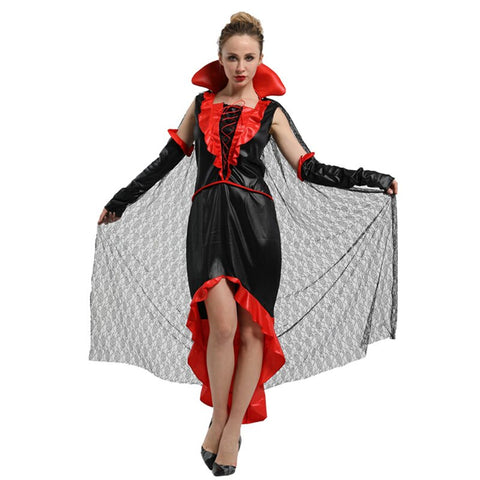 Adult Womens Noble Female Vampire Cosplay Countess Vampiress Costume Halloween Carnival Mardi Gras Party Fancy Dress