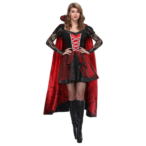 High Quality Vampire Adult Women Costume Dress Cloak Halloween Party Carnival Costume