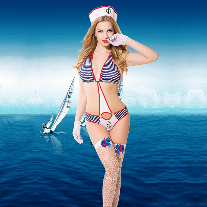Erotic Sailor Costumes Women Sexy Lingerie One Pieces Suit Female Backless Bandage Sexy Underwear Porno Suit For Sex