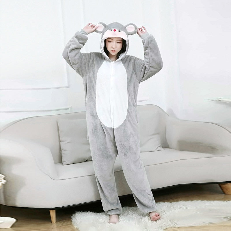 Minnie Costumes Men and women Hooded animal cartoon Minnie pajamas home lovers long sleeve Jumpsuits