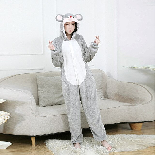 Minnie Mous Kigurumi Onesies Costumes Men and women Hooded animal cartoon Minnie Mousr pajamas home lovers long sleeve Jumpsuits