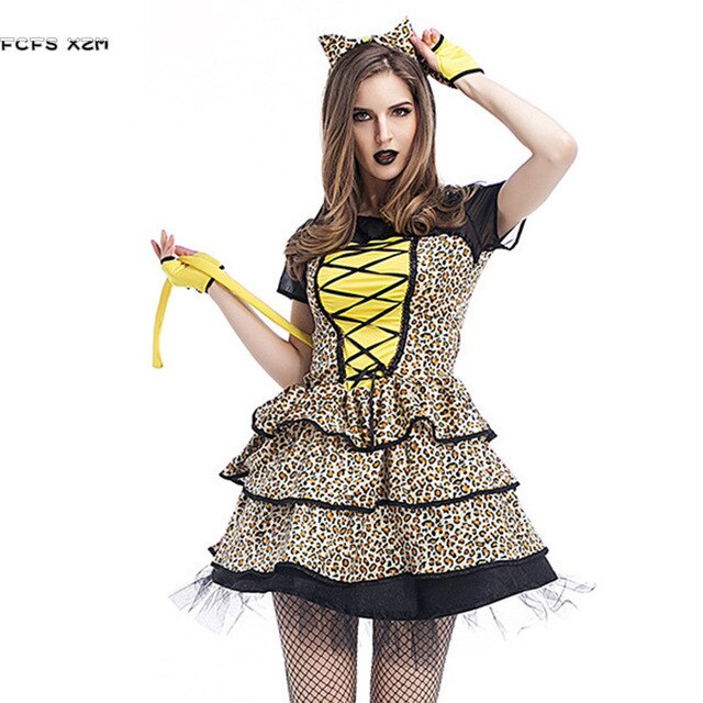 Sexy Halloween Leopard Animal Costumes For woman Female Catwoman Kitty Cosplay Purim Christmas Carnival Masquerade party dress