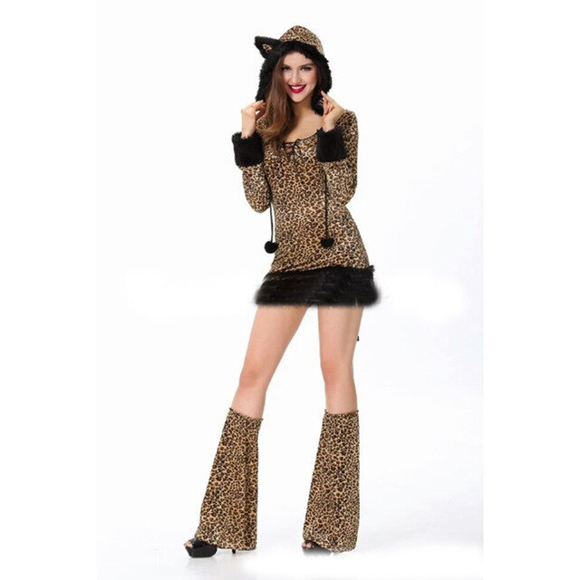 Halloween's new cosplay costume cat girl dress leopard party costume sexy female carnival animal plays tail costume
