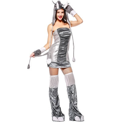 Halloween costumes Sexy  Animal costumes Grey Elephant 4pcs Warm Halloween Costume