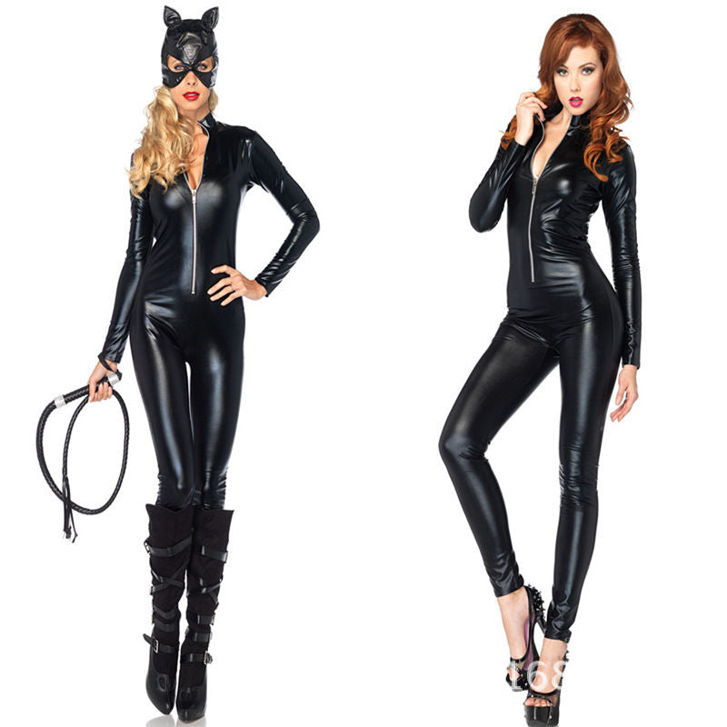 Black Faux Leather WetLook Zipper Bandage Catsuit Catwoman Full Bodysuit Playsuit catwoman adult Superhero Costume