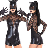 Women Black Faux Leather Catsuit Sexy Catwoman Costume Cat Cosplay Jumpsuit Stretchable 2 Way Zipper Bodysuit With Mask