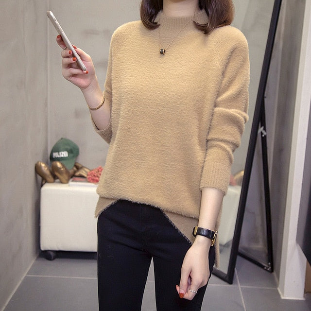 Plus Size Turtleneck Cashmere Sweater Women Autumn Winter Tops Ladies Knitwear Big Slit Mohair Pullovers Jumper 4xl