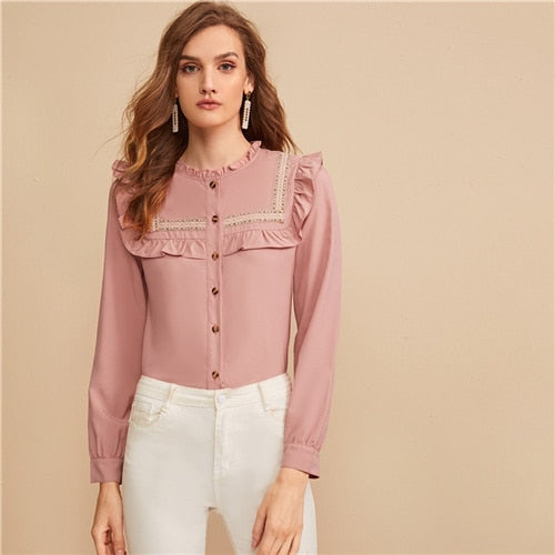 SHEIN Pink Embroidered Tape Panel Ruffle Trim Button Front Cute Blouse Shirt Women Tops Autumn Long Sleeve Elegant Blouses