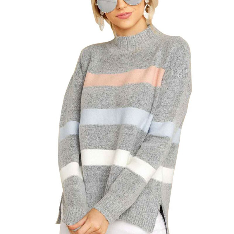 knit sweater Women Tops Ladies Sweater Winter autumn Pullover Sweatshirt Round Neck loose split girl Casual Jumper Warm Striped