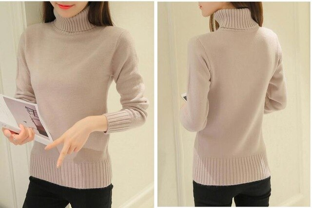 TIGENA Free shipping Winter Sweater Women Turtleneck Jumper Black Pink Purple White Warm Knitted Pullover and Sweater Female Pull