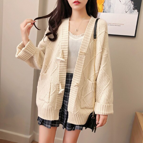 Winter Cardigan Women Knitting Jacket Coat Loose Oversize Cardigan Yellow Sweater