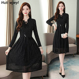 Vintage Black Lace Mesh Sexy Midi Dress Autumn Winter 3XL Plus Size Long Sleeve Dress Elegant Women