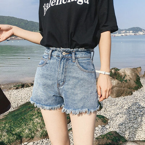 Summer Women Shorts Fashion Large Size Loose High Waist Female Denim Shorts Thin Ladies Wide Leg Short Pants