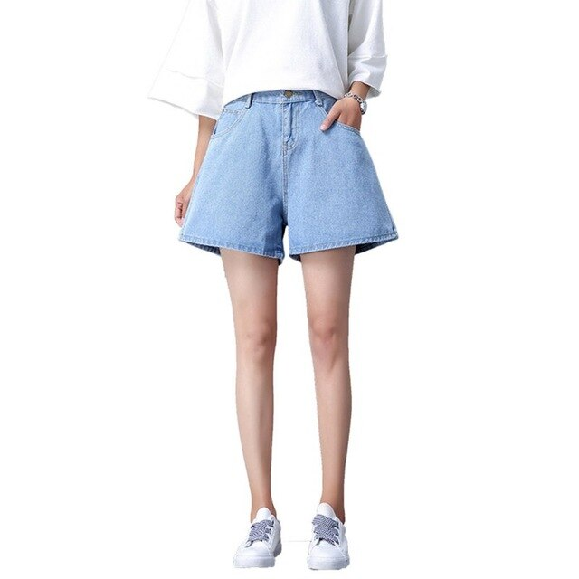 Women Denim Shorts Summer High Waist Solid Color Casual Wide Leg Female Loose Ladies Shorts Pocket Jeans For Women