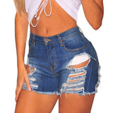 Women Summer Cotton Women Shorts Jeans High Waists Plus Size Button Hole Skinny Shorts Denim Trousers