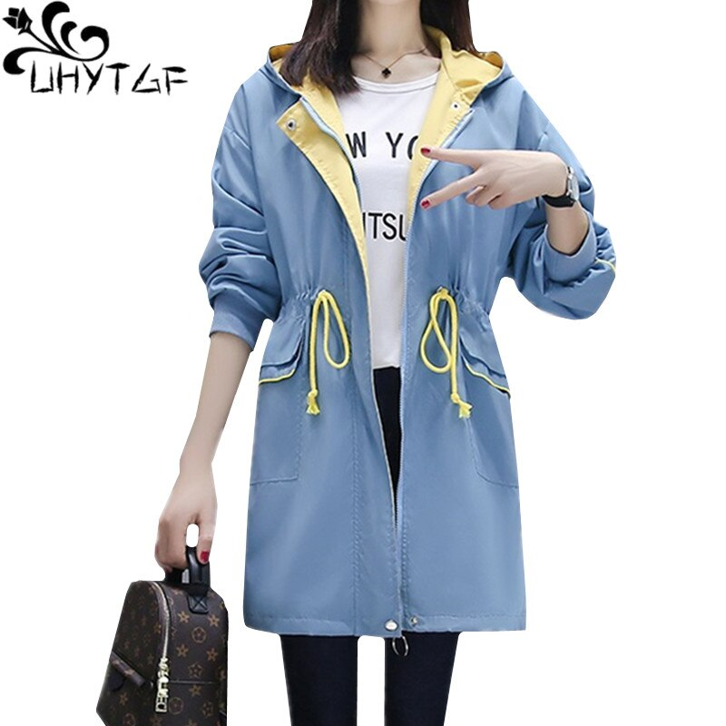 UHYTGF Free shipping Autumn trench coat mid-length female casual plus size coats Hooded bat sleeves elegant women's windbreaker outerwear