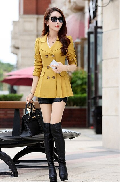 Women Trench Coat Spring Autumn Casual Solid Color Slim Double-breasted Short Coat Female Office Windbreaker Outwear