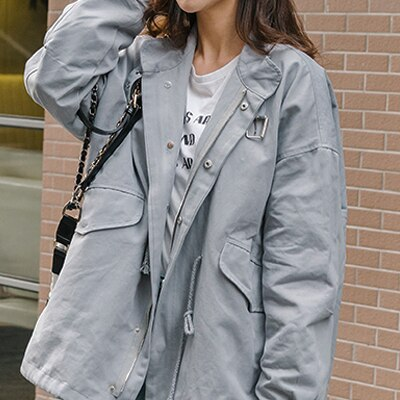 Spring Women Windbreaker New Long Tide Fashion Korean Loose Casual Temperament  Wild Skirt Students Women Trench Coat LWH42