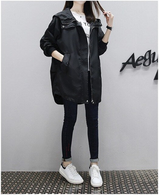 UHYTGF Women trench Coat Women basic Tops Spring autumn Female Hooded Wild Baseball Top Ladies Splicing plus size trench Coat