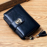 Women's Wallet Bag Three-fold Zipper Purses Diamond Round Lock Tassel PU Leather Card Money Bag Wallet Women