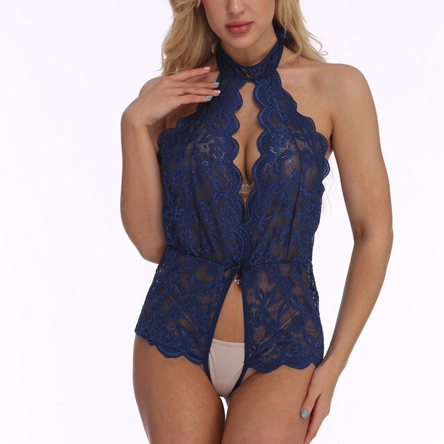 New Blue Sexy Bodysuits Women Lingerie Sexy Sleepwear With Camis Lace Hollow Out Fashion Underwear Seamless Teddies Body