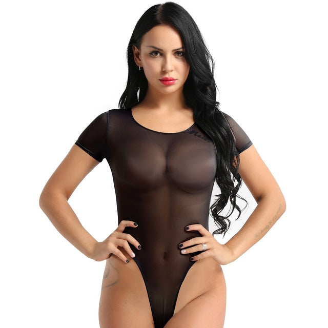 Women's Erotic One Piece See Through Mesh Sheer Skinny Teddy Lingerie Romper Short Sleeve High Cut Sexy Bikini Thongs Bodysuit
