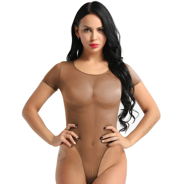 Womens Erotic One Piece See Through Mesh Sheer Skinny Teddy Lingerie Romper Short Sleeve High Cut Sexy Bikini Thongs Bodysuit