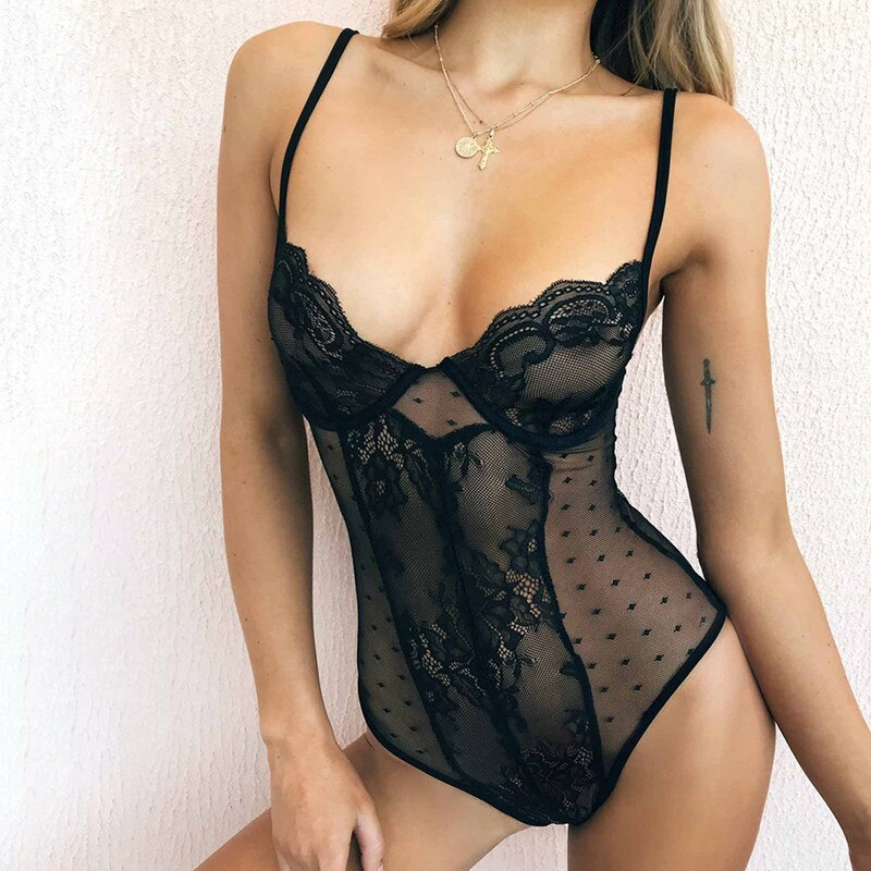 See-Through sex bodysuit hot transparent women teddy Seductive rompers female leotard sexy lingerie
