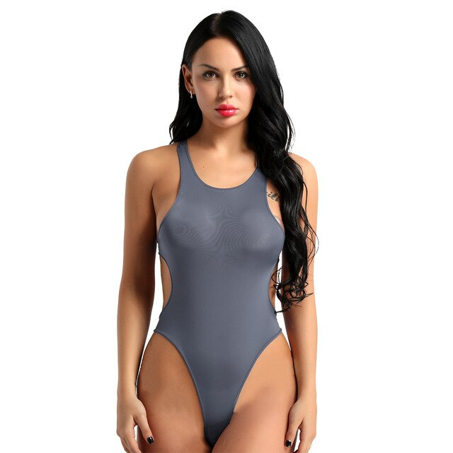 Women High Cut Teddies Sexy Body Stocking See Through Sheer Lingerie Scoop Neck Backless Leotard Bodysuit