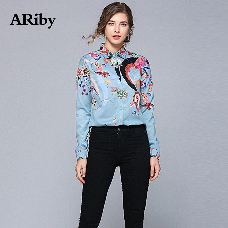 ARiby Women Blue Fashion Printed Shirts Spring Office Lady Long Sleeved Shirts Turn-down Collar Women Top and Blouses