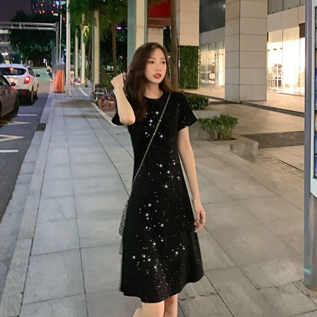 Sexy Dresses Party Night Club Dress Summer Women's Clothing Simple Scheming Little Black Dress  Sequin Dress