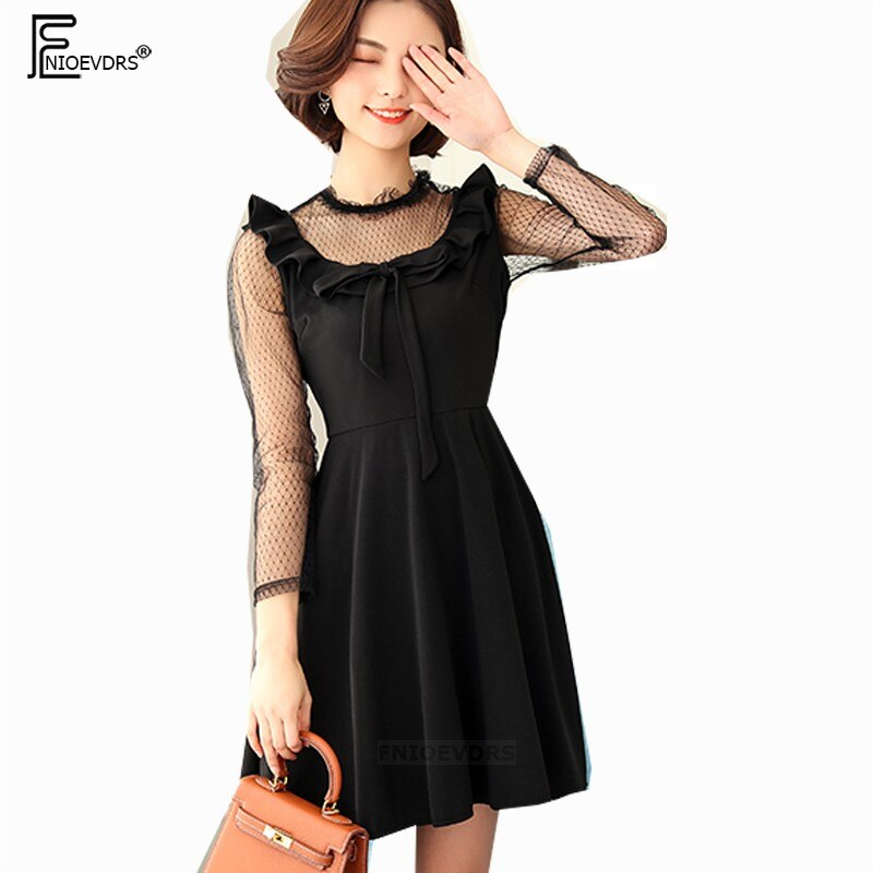 Bow Tie Dresses Hot Women Cute Sweet Girls Lady Patchwork Faux Two Piece See Through Sexy Mesh Sheer Little Black Dress 4XL 3XL