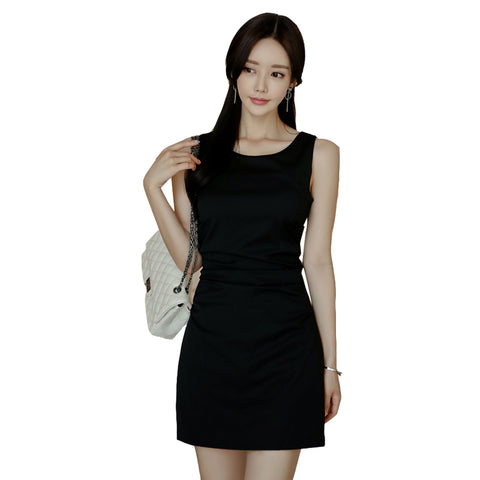 CINESSD Bodycon Free shipping Straight Work Bag Hip Dress Women Summer Solid Tank Sleeveless O-neck Black Dress Vestidos Plus Size