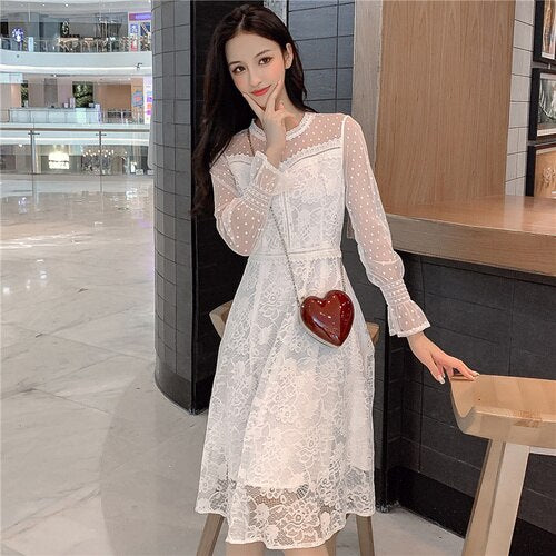 Korean A-line Vintage Dress Lace Mesh High Waist Vestidos Flarre Sleeve Brief Casual Fashion White Dress