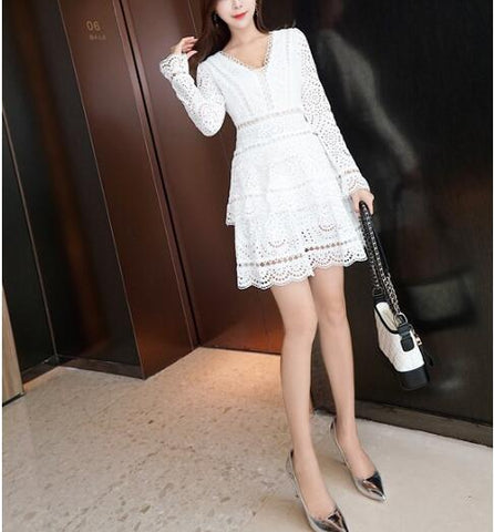 New Autumn Celebrity Sexy Hollow Out V-neck Elegant Bodycon Evening Party Pub Fashion White Dresses wholesale