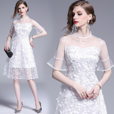 Women's woman ladies Designer cute summer white A-line runway Skater Casual Cocktail party Swing office work wear dress for women