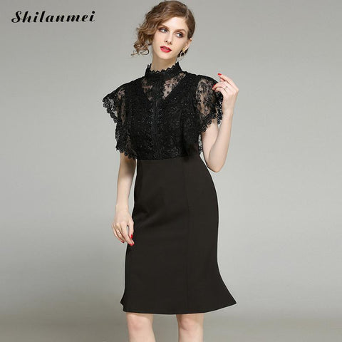 Black Mesh Patchwork Lace Bodycon Dress Women Summer Flare Sleeve Hollow Out Dresses OL Party Work Pencil One Piece Dress Suit